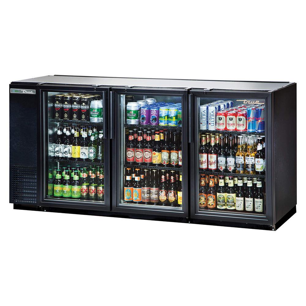 "True TBB-24GAL-72G-HC-LD 72"" (3) Section Bar Refrigerator - Swinging Glass Doors, 115v"