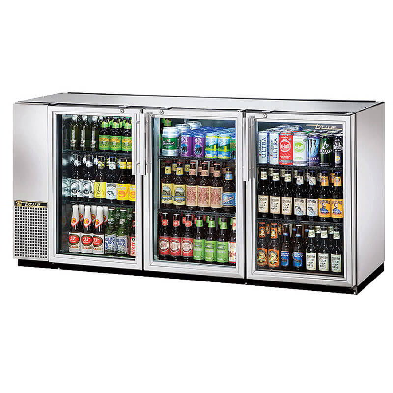 "True TBB-24GAL-72G-S-HC-LD 72"" (3) Section Bar Refrigerator - Swinging Glass Doors, 115v"