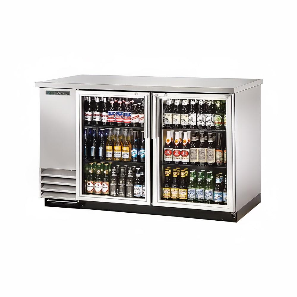 "True TBB-2G-S-HC-LD 59"" (2) Section Bar Refrigerator - Swinging Glass Doors, 115v"
