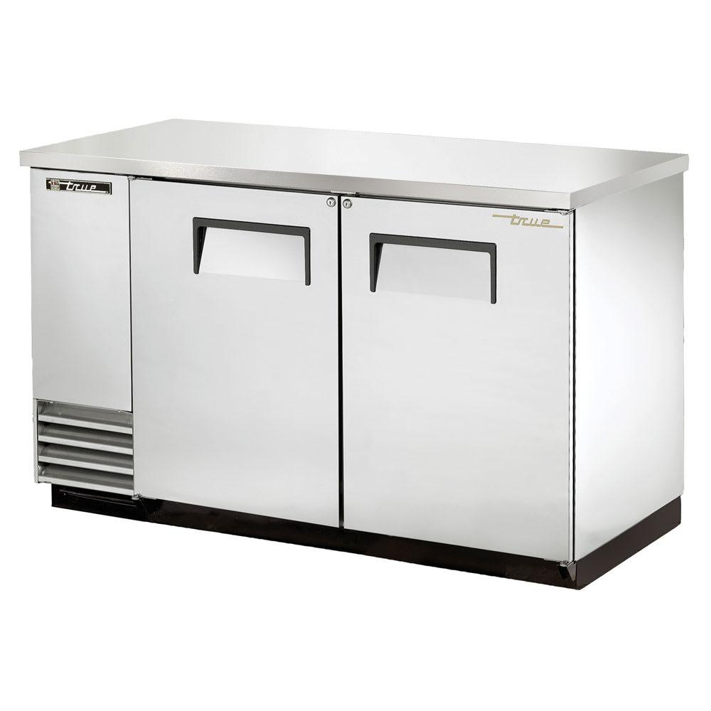 """True TBB-2-S-HC 59"""" (2) Section Bar Refrigerator - Swinging Solid Doors, 115v"""