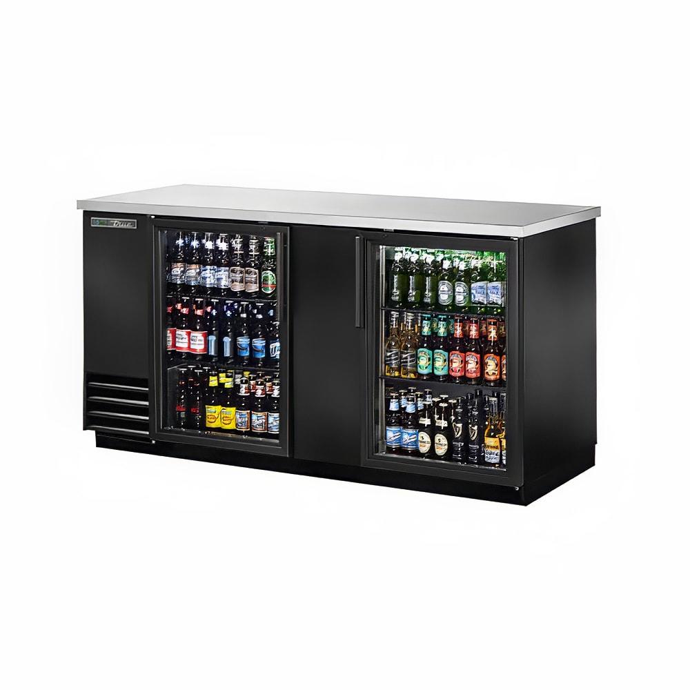 "True TBB-3G-HC-LD 69"" (2) Section Bar Refrigerator - Swinging Glass Doors, 115v"