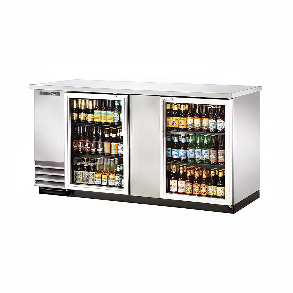 "True TBB-3G-S-HC-LD 69"" (2) Section Bar Refrigerator - Swinging Glass Doors, 115v"