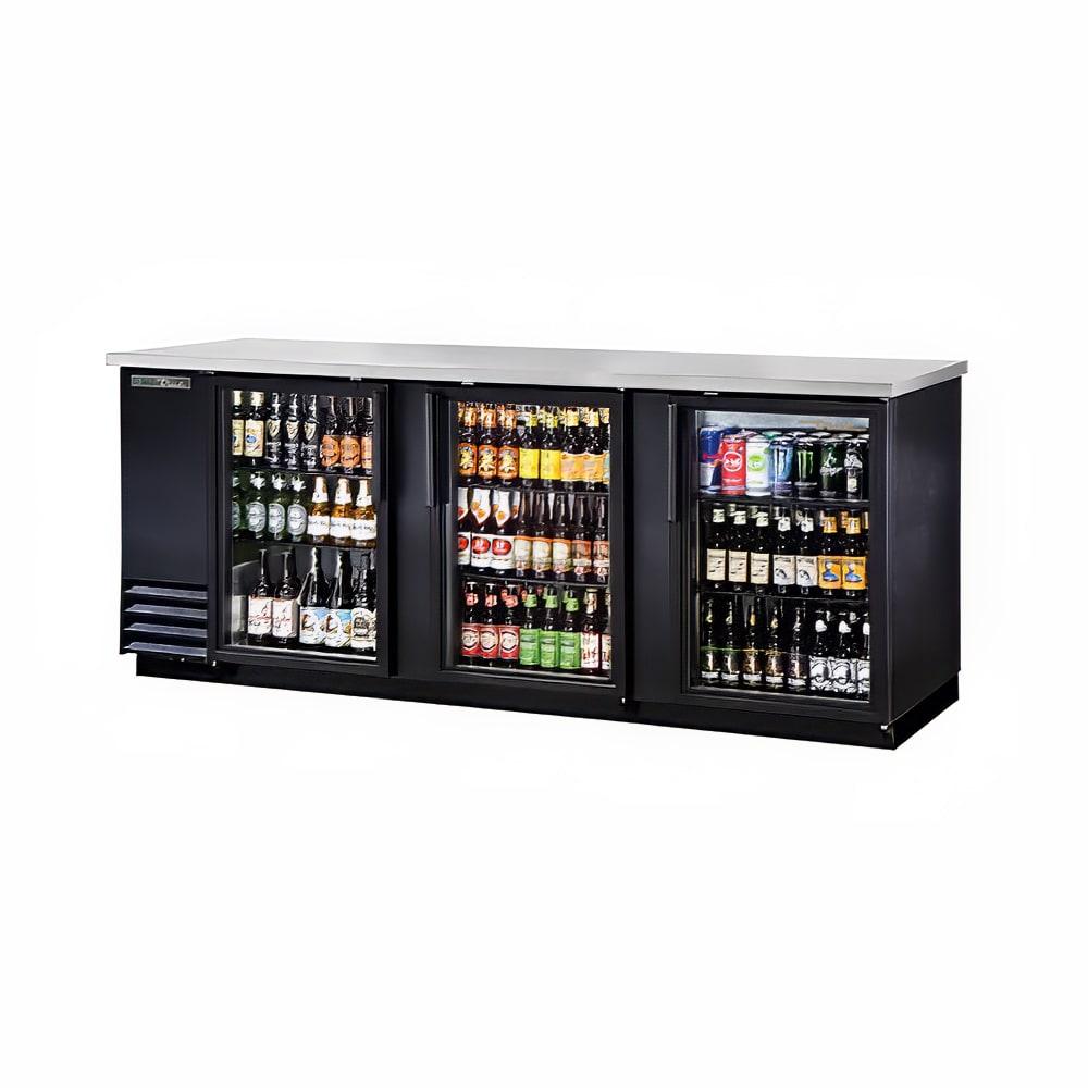 "True TBB-4G-HC-LD 90"" (3) Section Bar Refrigerator - Swinging Glass Doors, 115v"