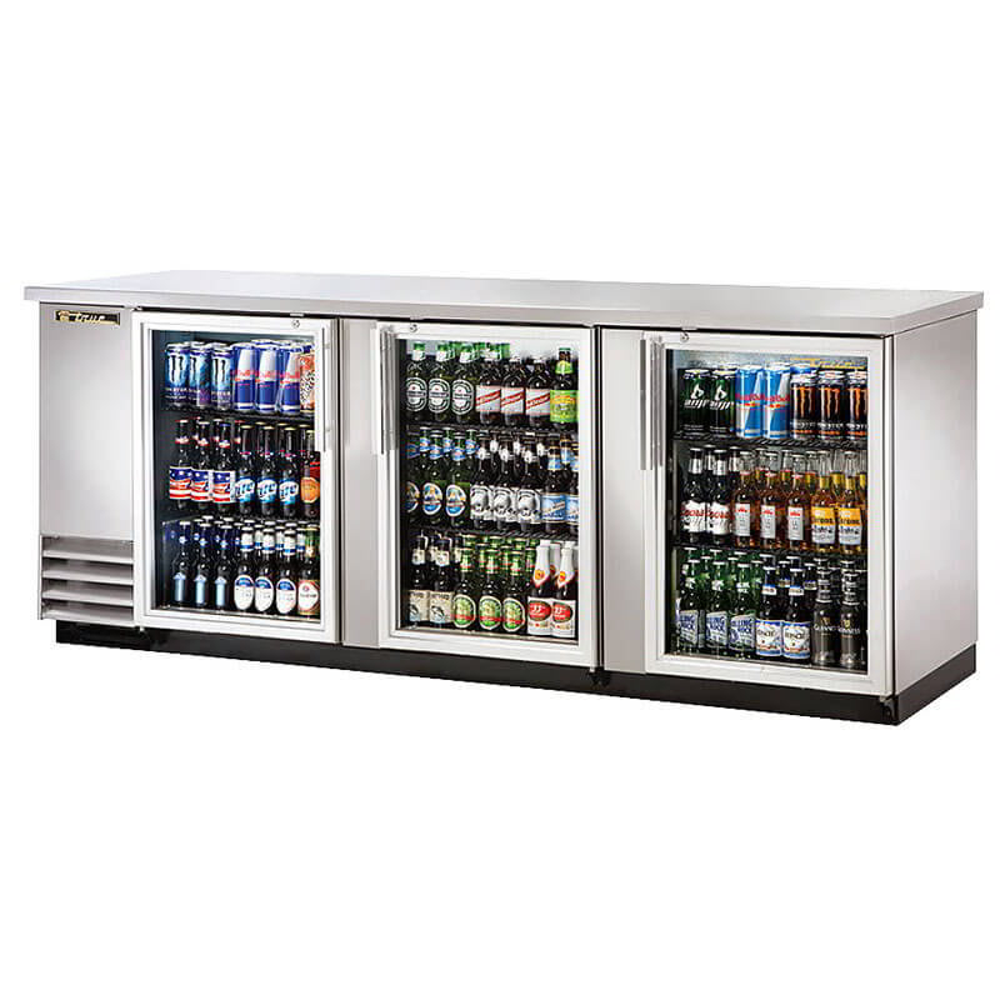"True TBB-4G-S-HC-LD 90"" (3) Section Bar Refrigerator - Swinging Glass Doors, 115v"