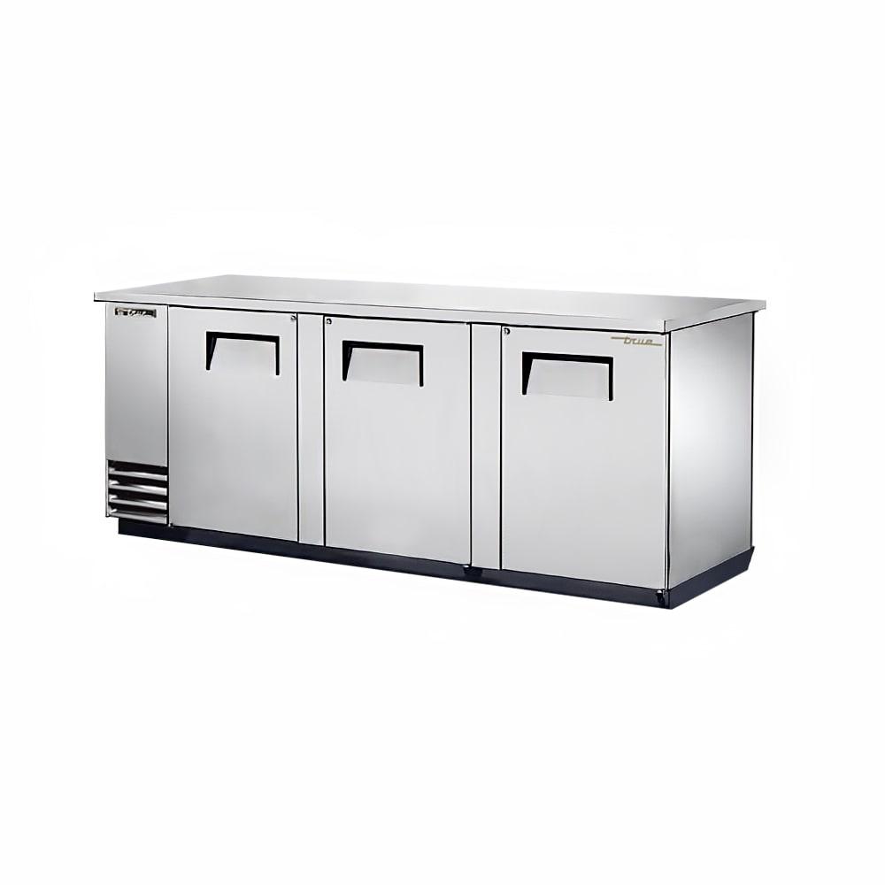 """True TBB-4PT-S 90"""" (3) Section Bar Refrigerator - Swinging Solid Doors, 115v"""