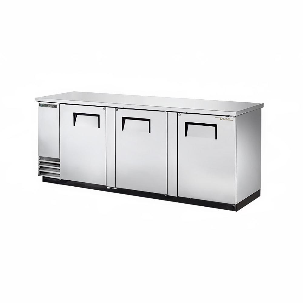 """True TBB-4-S-HC 90"""" (3) Section Bar Refrigerator - Swinging Solid Doors, 115v"""