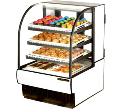 """True TCGD-31 31"""" Full Service Bakery Case w/ Curved Glass - (4) Levels, White, 115v"""