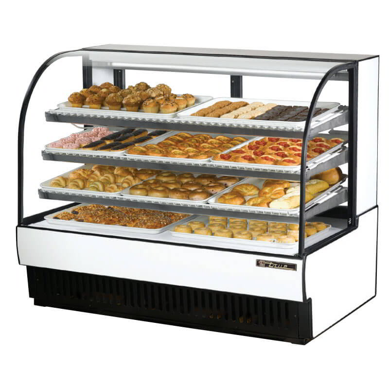 "True TCGD-59 59"" Full Service Bakery Case w/ Curved Glass - (4) Levels, White, 115v"