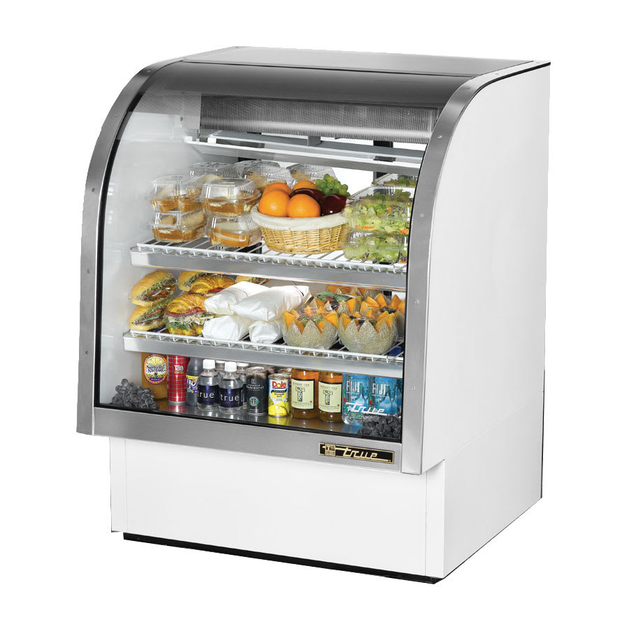 "True TCGG-36-LD 36"" Full Service Deli Case w/ Curved Glass - (3) Levels, 115v"