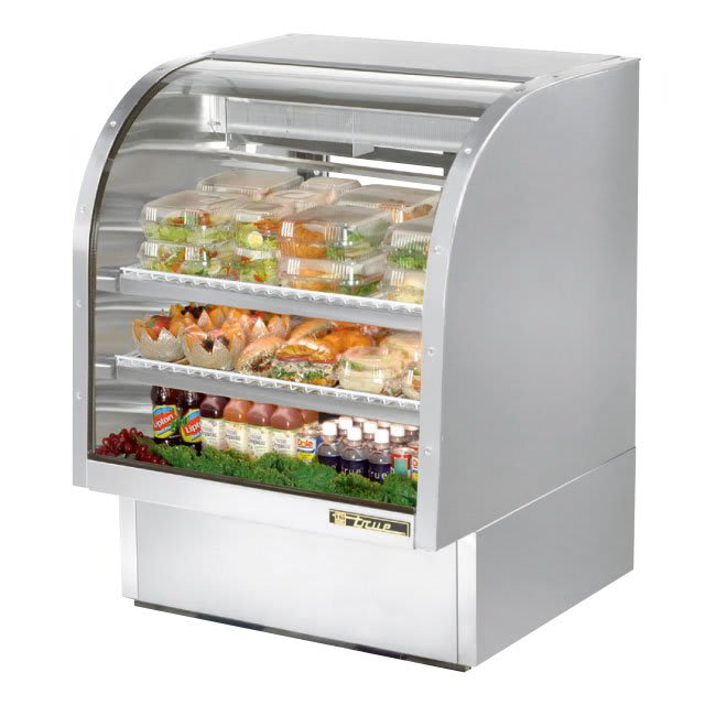 "True TCGG-36-S-LD 36"" Full Service Deli Case w/ Curved Glass - (3) Levels, 115v"