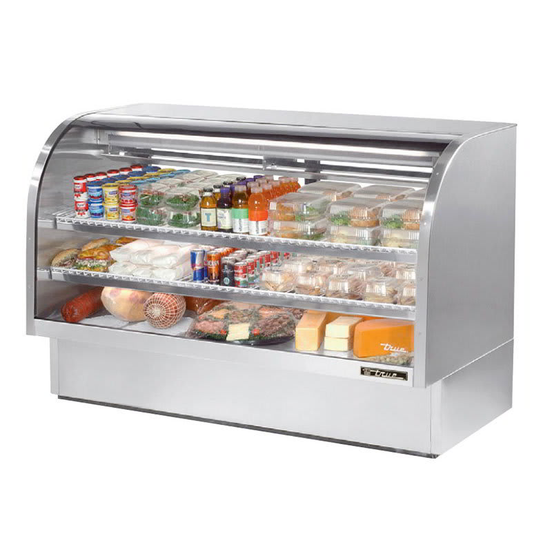 "True TCGG-72-S-LD 72"" Full Service Deli Case w/ Curved Glass - (3) Levels, 115v"
