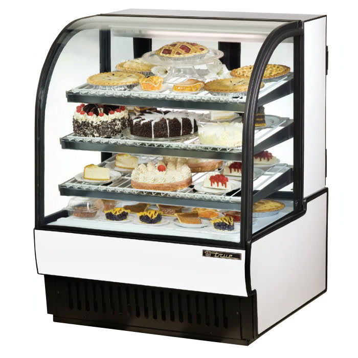 "True TCGR-36 36"" Full Service Bakery Case w/ Curved Glass - (4) Levels, White, 115v"