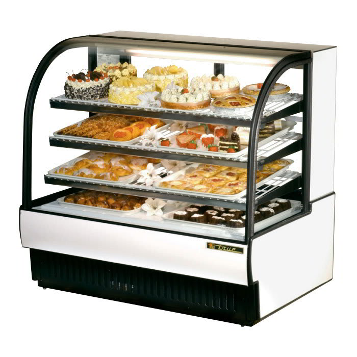 "True TCGR-50 50"" Full Service Bakery Case w/ Curved Glass - (4) Levels, White, 115v"