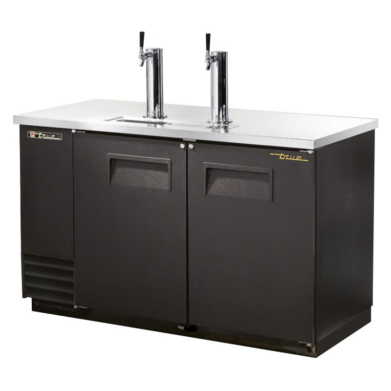 "True TDD-2-HC 59"" Draft Beer System w/ (2) Keg Capacity - (2) Columns, Black, 115v"