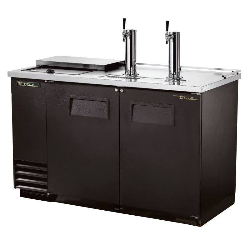 "True TDD-2CT-HC 59"" Draft Beer System w/ (2) Keg Capacity - (2) Columns, Black, 115v"