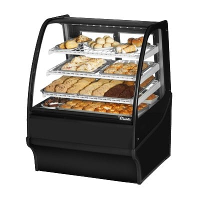"True TDM-DC-36-GE/GE-S-S 36.25"" Full-Service Dry Bakery Case w/ Curved Glass - (4) Levels, 115v"