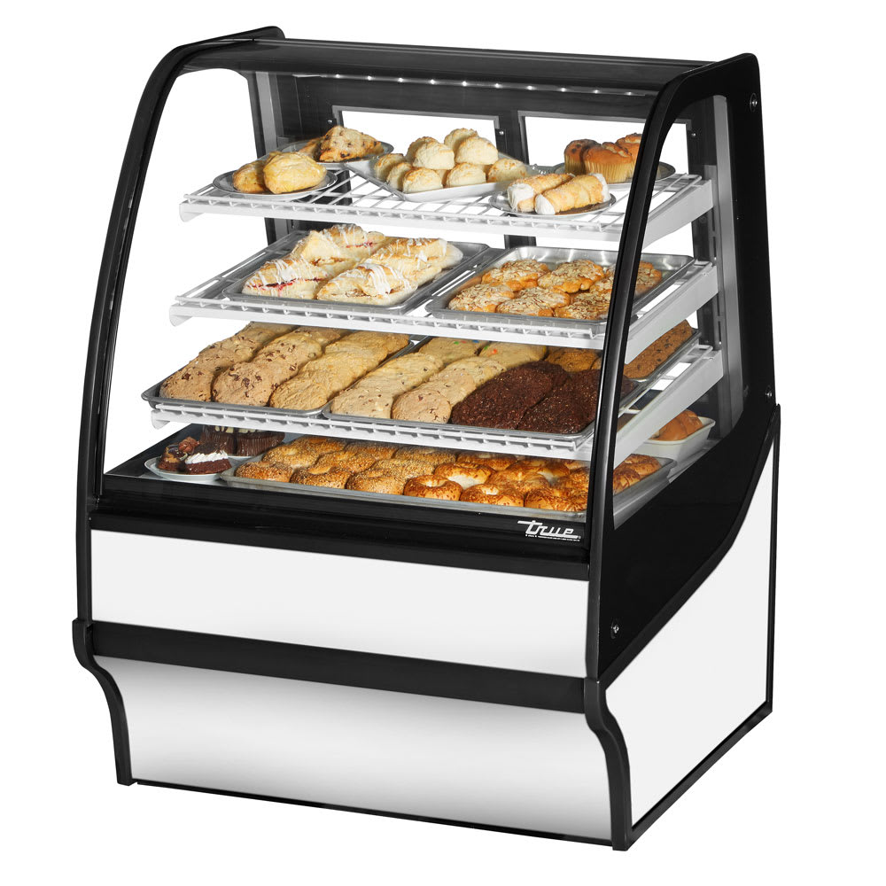 """True TDM-DC-36-GE/GE-W-W 36.25"""" Full-Service Dry Bakery Case w/ Curved Glass - (4) Levels, 115v"""