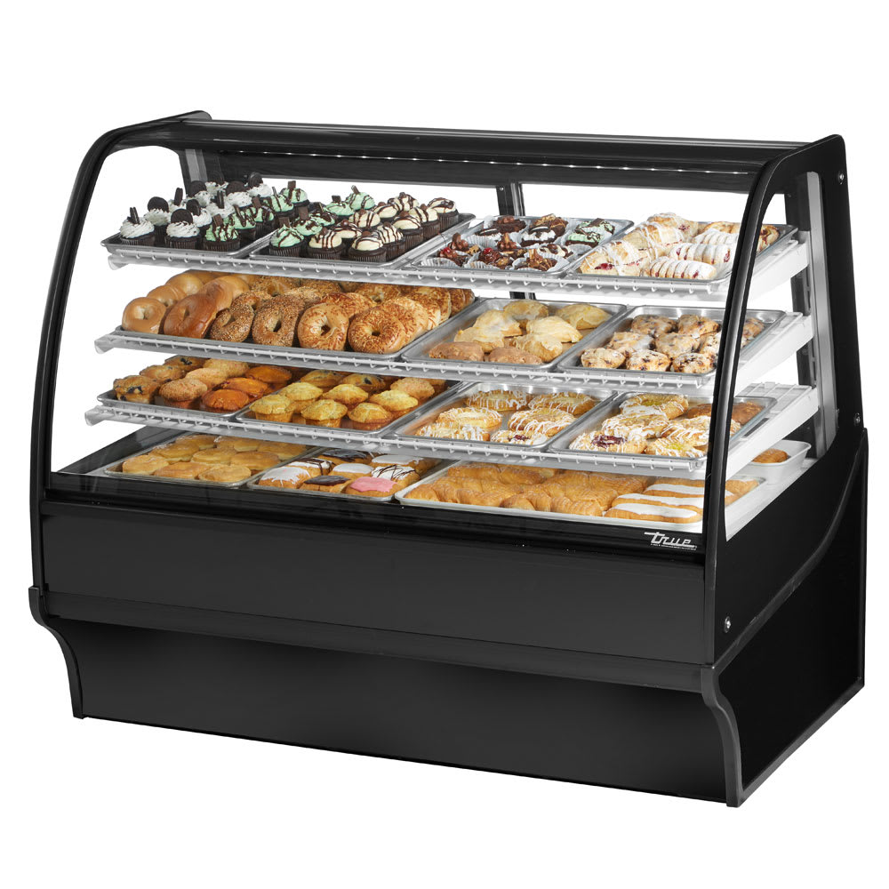 """True TDM-DC-59-GE/GE-B-W 59.25"""" Full-Service Dry Bakery Case w/ Curved Glass - (4) Levels, 115v"""