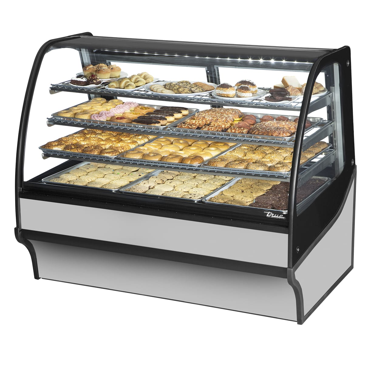 """True TDM-DC-59-GE/GE-S-S 59.25"""" Full-Service Dry Bakery Case w/ Curved Glass - (4) Levels, 115v"""
