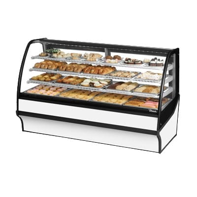"""True TDM-DC-77-GE/GE-S-W 77.25"""" Full-Service Dry Bakery Case w/ Curved Glass - (4) Levels, 115v"""