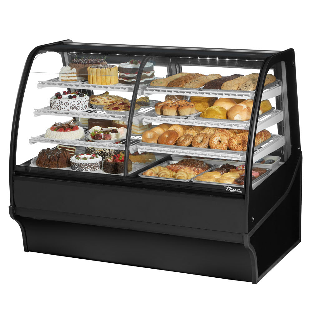 "True TDM-DZ-59-GE/GE-B-W 59.25"" Full-Service Dual-Zone Bakery Case w/ Curved Glass - (4) Levels, 115v"
