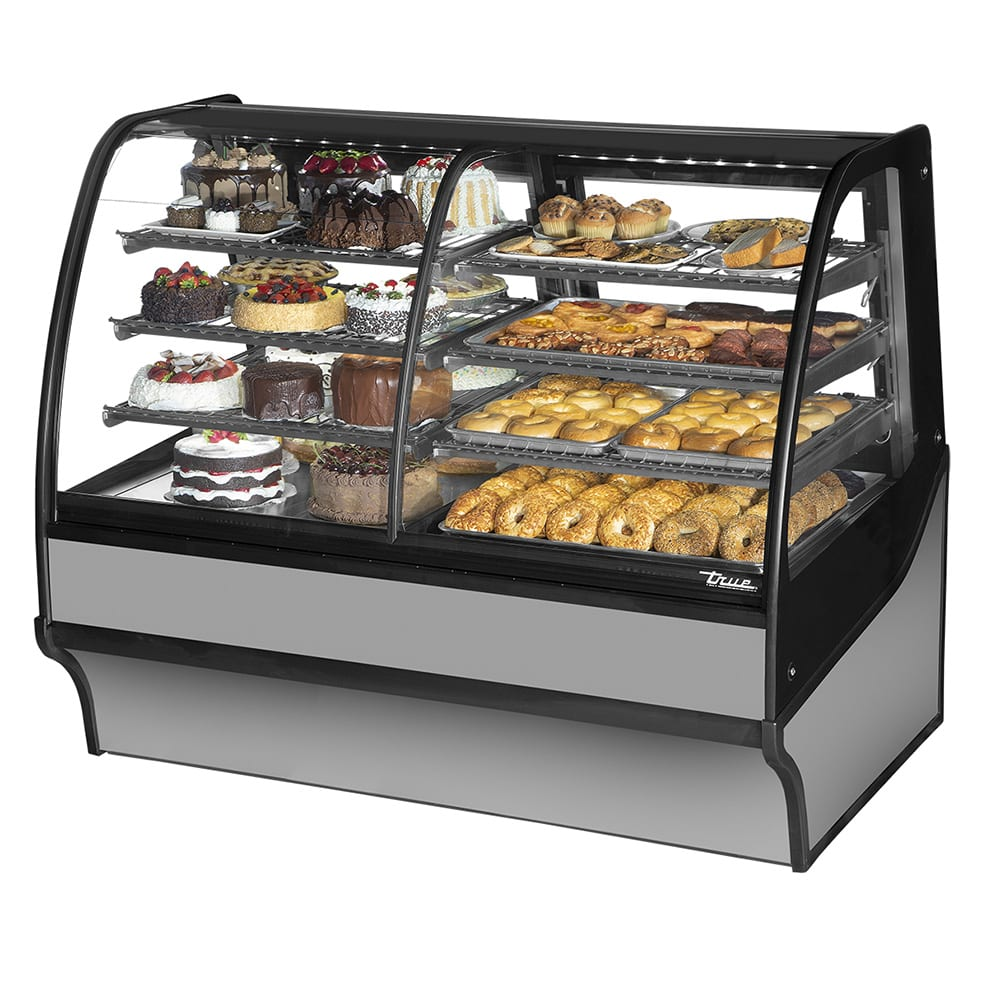"True TDM-DZ-59-GE/GE-S-S 59.25"" Full-Service Dual-Zone Bakery Case w/ Curved Glass - (4) Levels, 115v"