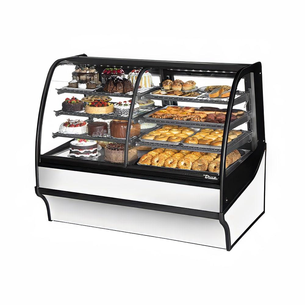 "True TDM-DZ-59-GE/GE-S-W 59.25"" Full-Service Dual-Zone Bakery Case w/ Curved Glass - (4) Levels, 115v"