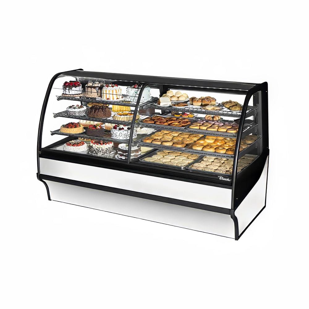 "True TDM-DZ-77-GE/GE-S-W 77.25"" Full-Service Dual-Zone Bakery Case w/ Curved Glass - (4) Levels, 115v"