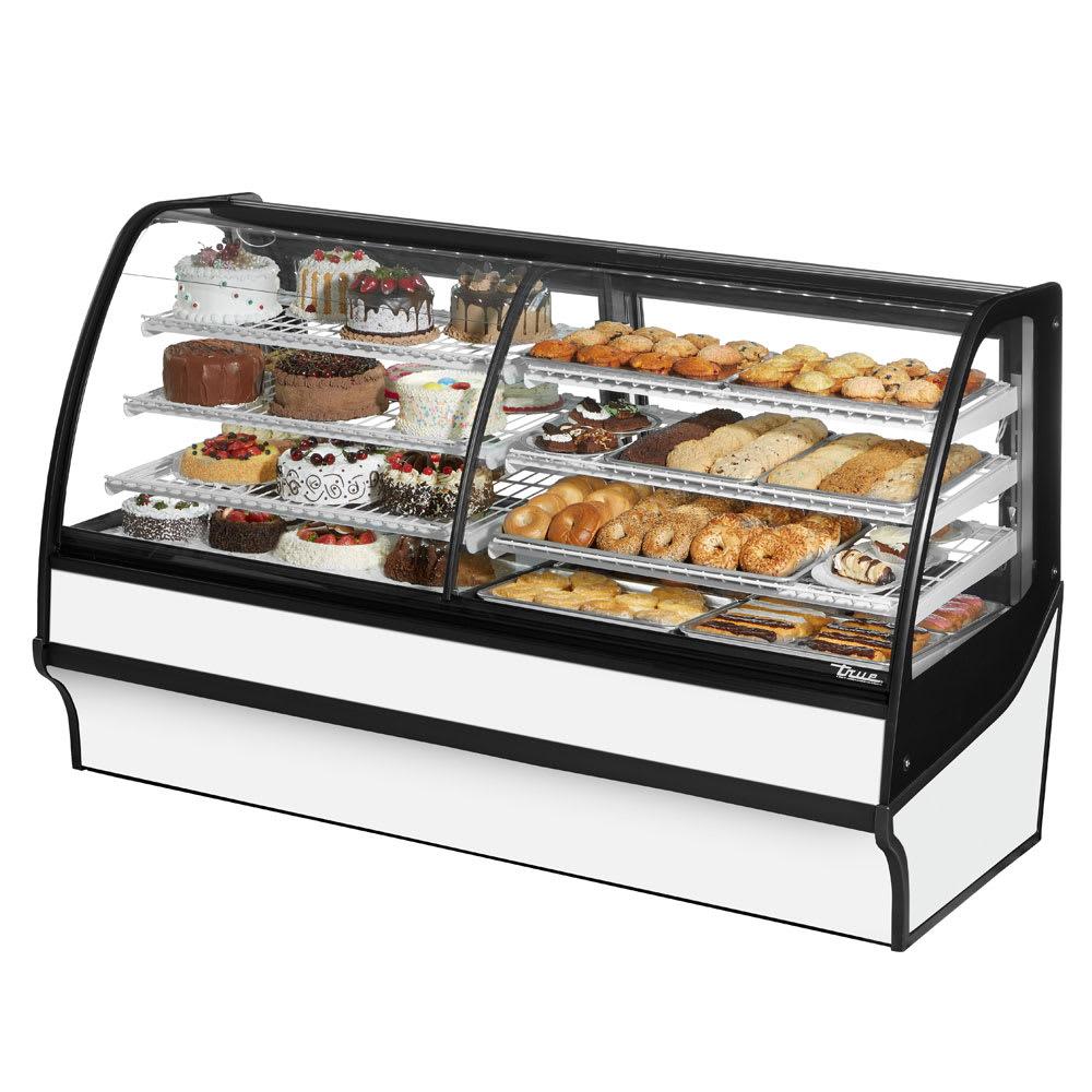 "True TDM-DZ-77-GE/GE-W-W 77.25"" Full-Service Dual-Zone Bakery Case w/ Curved Glass - (4) Levels, 115v"