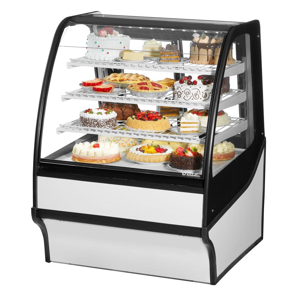 """True TDM-R-36-GE/GE-W-W 36.25"""" Full-Service Bakery Case w/ Curved Glass - (4) Levels, 115v"""