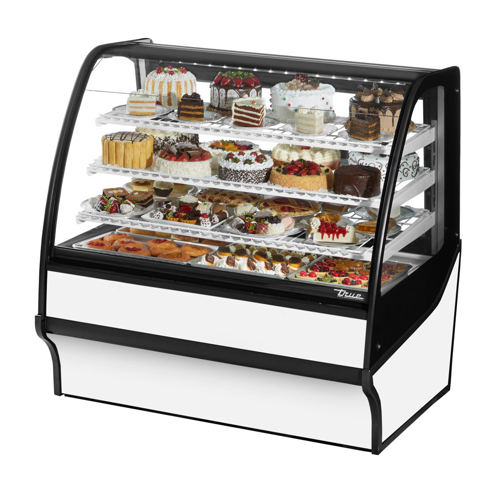 """True TDM-R-48-GE/GE-W-W 48.25"""" Full-Service Bakery Case w/ Curved Glass - (4) Levels, 115v"""