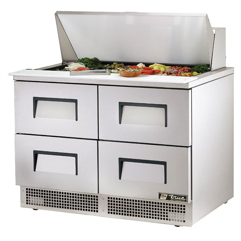 "True TFP-48-18M-D-4 48.13"" Sandwich/Salad Prep Table w/ Refrigerated Base, 115v"