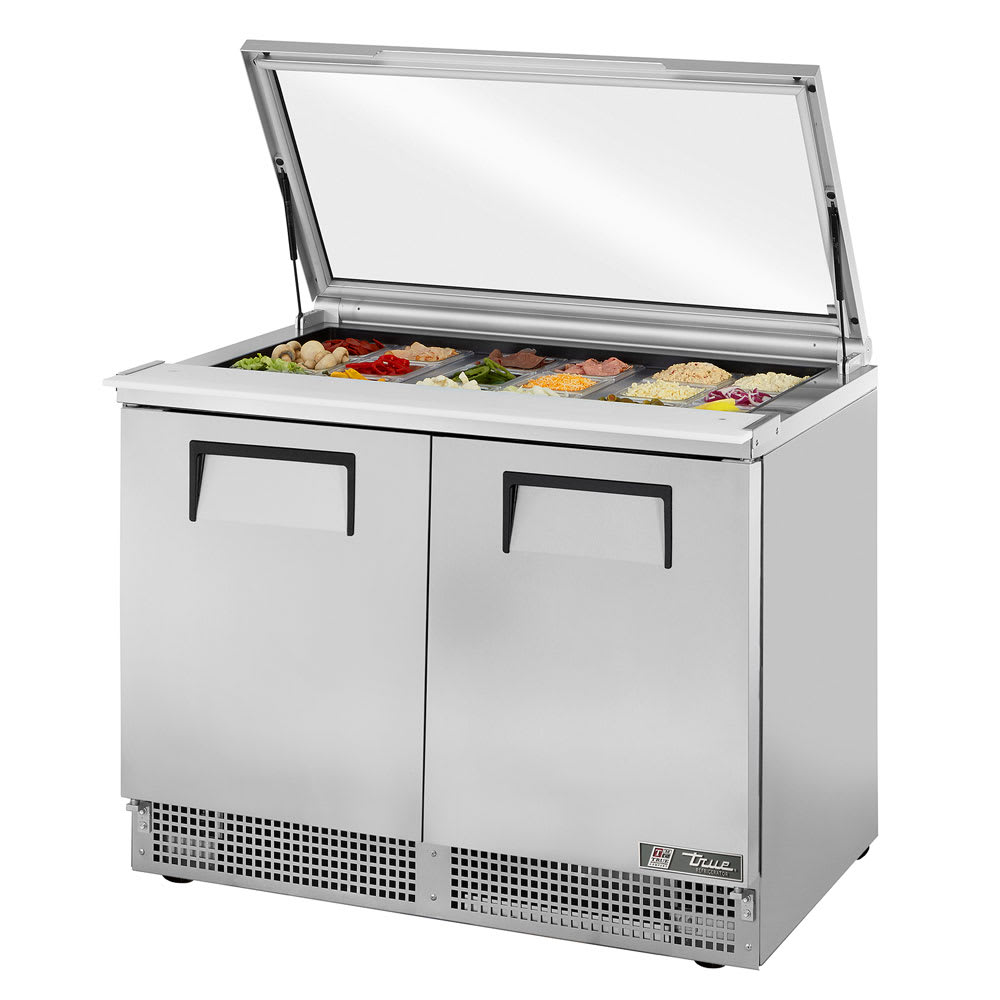 "True TFP-48-18M-FGLID 48.13"" Sandwich/Salad Prep Table w/ Refrigerated Base, 115v"