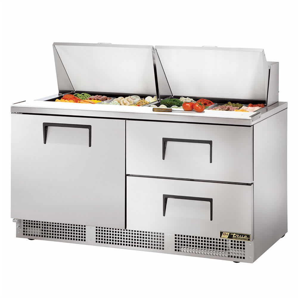 "True TFP-64-24M-D-2 64"" Sandwich/Salad Prep Table w/ Refrigerated Base, 115v"