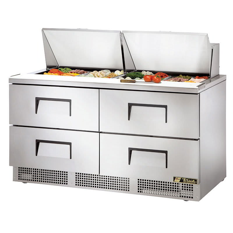 "True TFP-64-24M-D-4 64"" Sandwich/Salad Prep Table w/ Refrigerated Base, 115v"