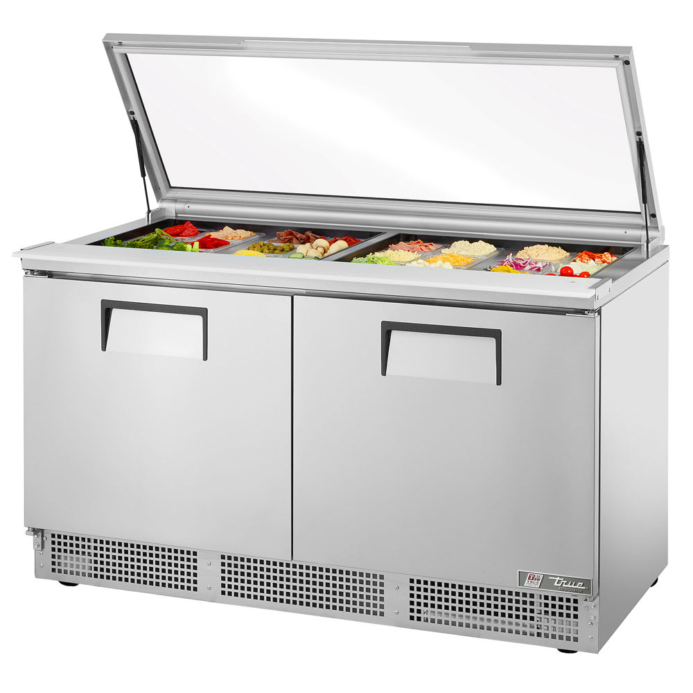 "True TFP-64-24M-FGLID 64.13"" Sandwich/Salad Prep Table w/ Refrigerated Base, 115v"
