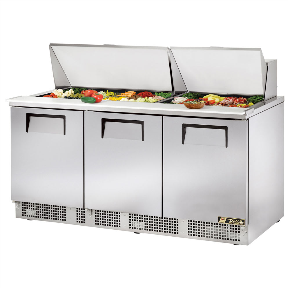 "True TFP-72-30M 72"" Sandwich/Salad Prep Table w/ Refrigerated Base, 115v"