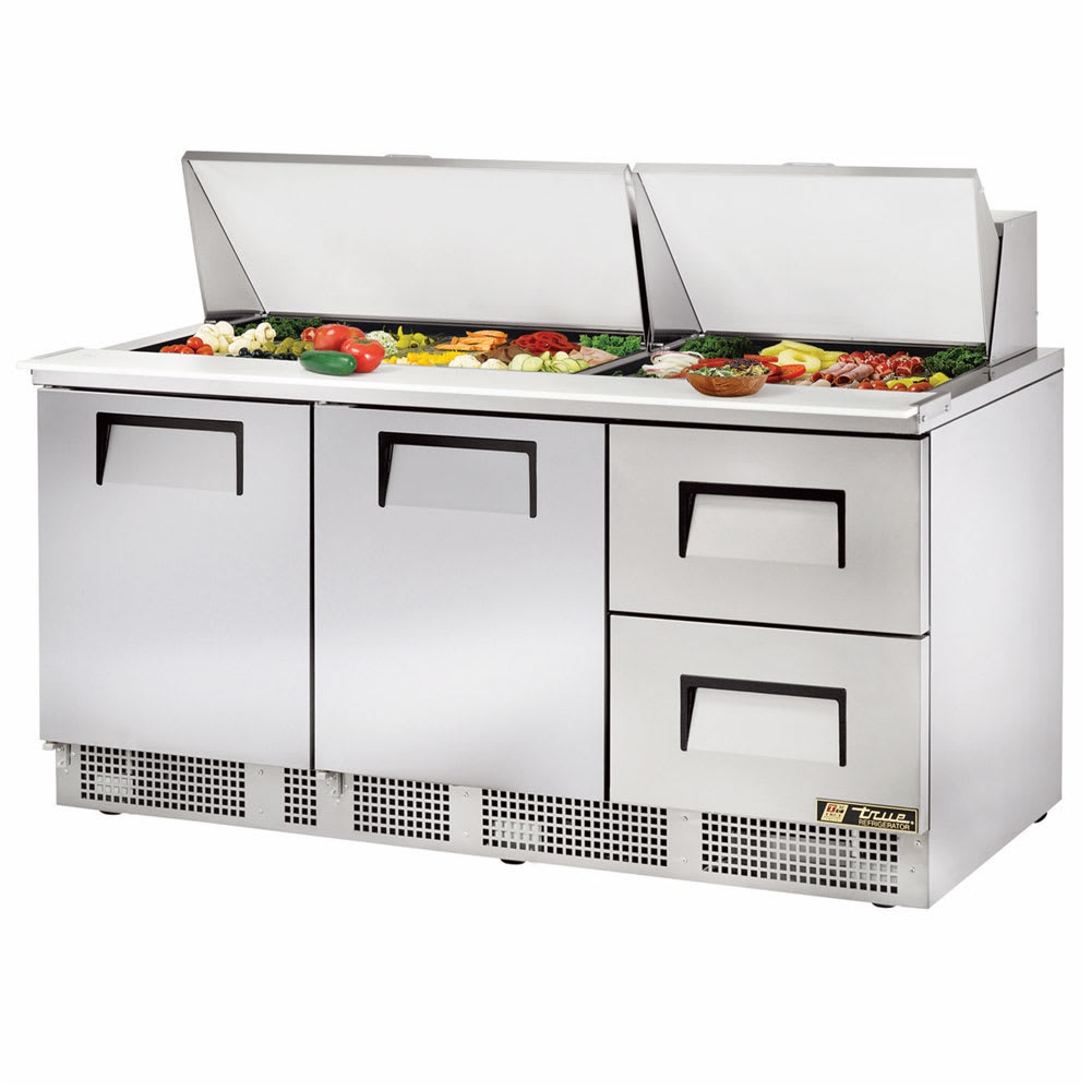 "True TFP-72-30M-D-2 72"" Sandwich/Salad Prep Table w/ Refrigerated Base, 115v"
