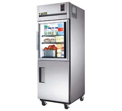 True TG1R-1HG/1HS Reach In Refrigerator w/ Glass & Solid Half Doors, 31-cu ft