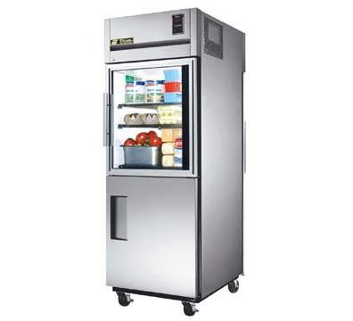 True TG1RPT-1HG/1HS-1G Pass Thru Refrigerator, Half Glass & Solid Front Doors, 31-cu ft