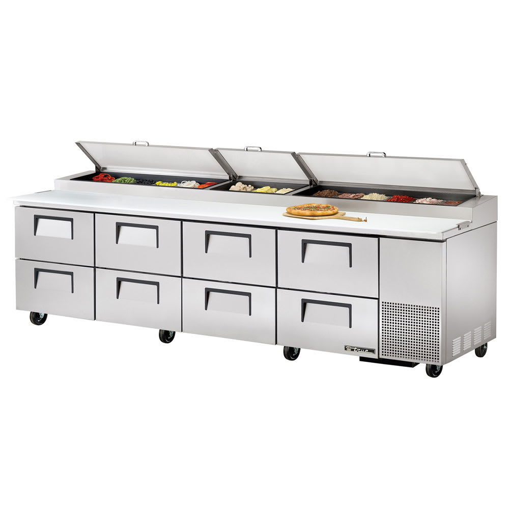 "True TPP-119D-8 119"" Pizza Prep Table w/ Refrigerated Base, 115v"