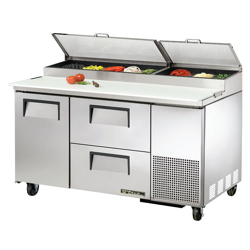 "True TPP-60D-2 60"" Pizza Prep Table w/ Refrigerated Base, 115v"