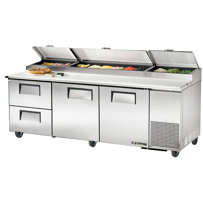 "True TPP-93D-2 93"" Pizza Prep Table w/ Refrigerated Base, 115v"