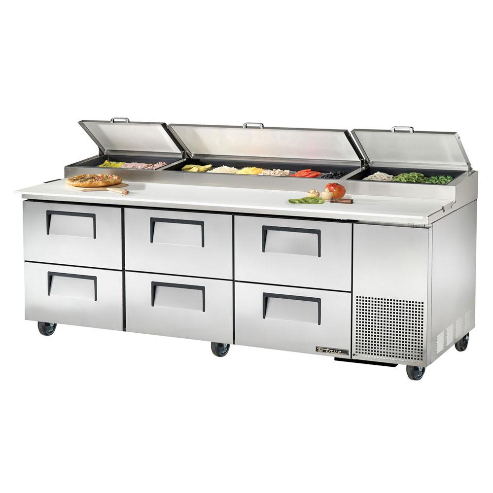 "True TPP-93D-6 93"" Pizza Prep Table w/ Refrigerated Base, 115v"
