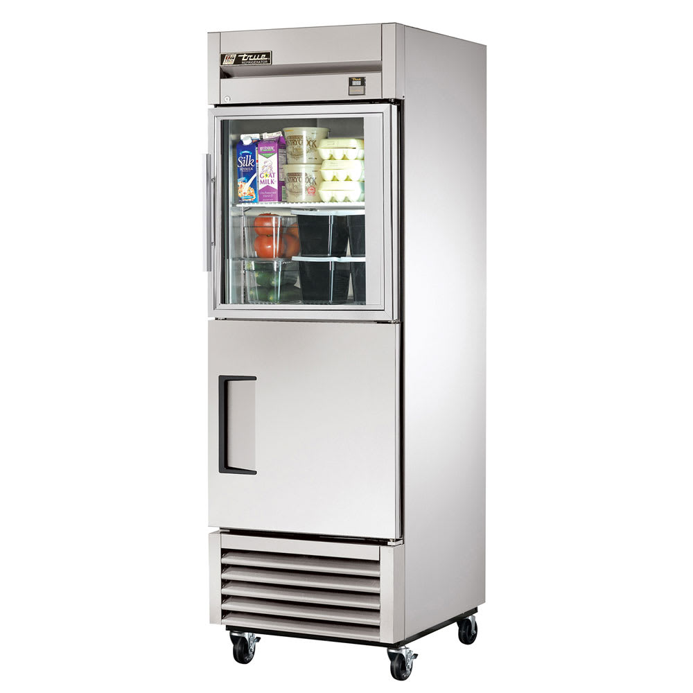 "True TS-23-1-G-1-HC~FGD01 27"" Single Section Reach-In Refrigerator, (1) Solid Door, (1) Glass Door, 115v"