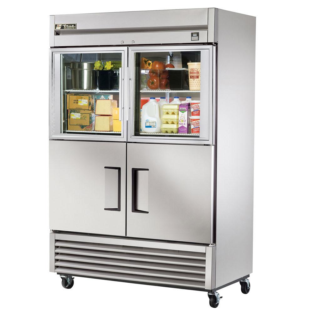 "True TS-49-2-G-2-LD 54"" Two Section Reach-In Refrigerator, (2) Glass Door & (2) Solid Door, 115v"