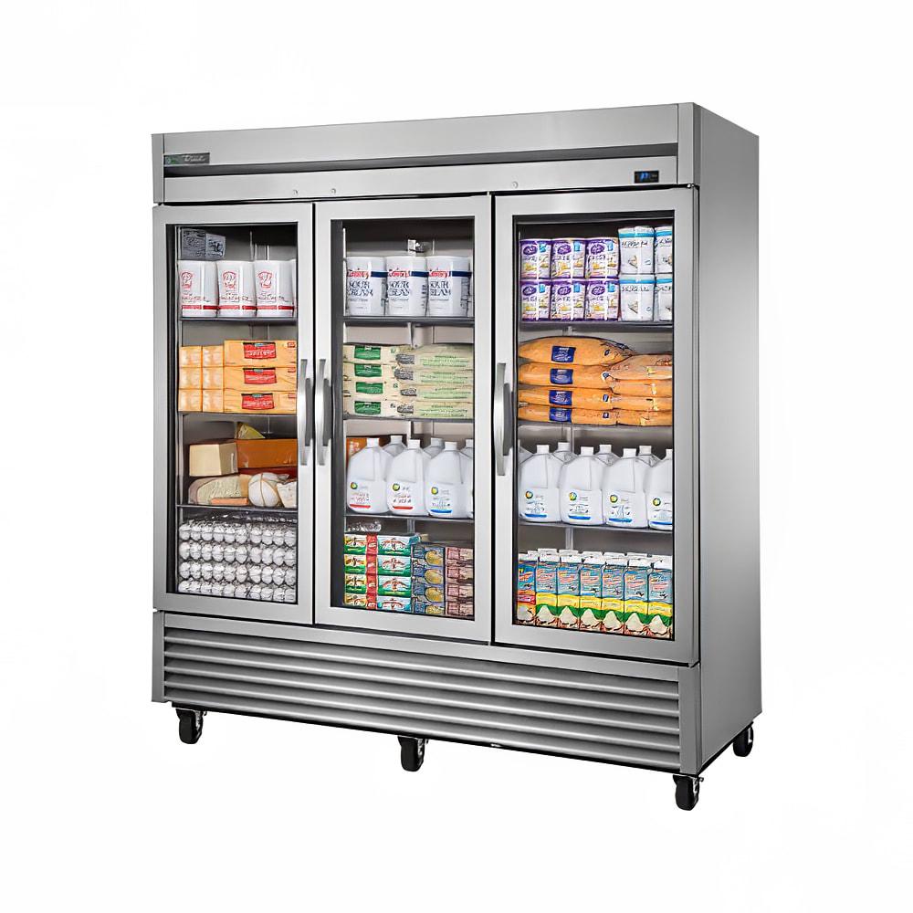 """True TS-72G-HC~FGD01 78"""" Three Section Reach-In Refrigerator, (3) Glass Door, 115v"""