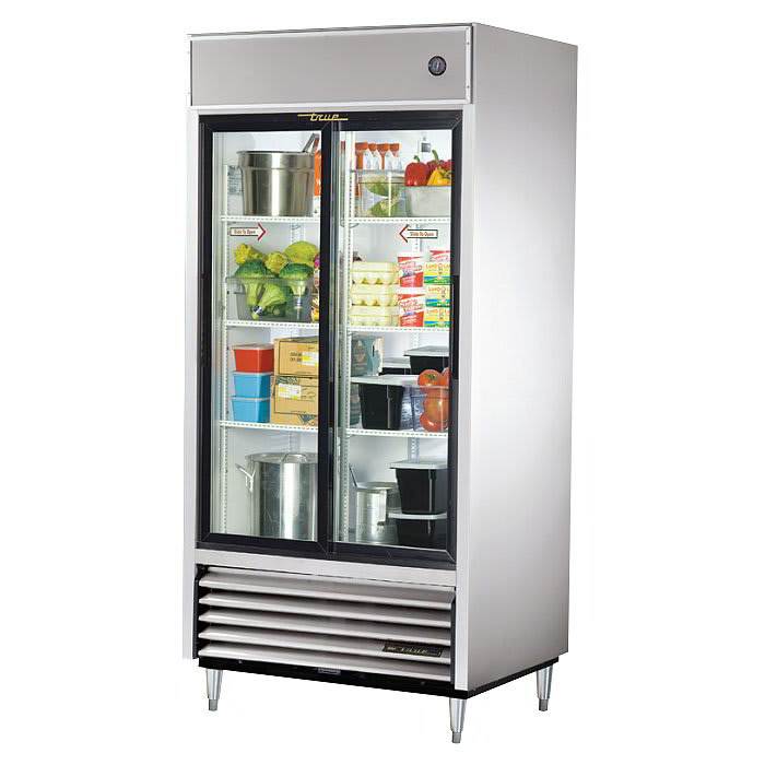 "True TSD-33G-HC-LD 39.5"" Two Section Reach-In Refrigerator, (2) Glass Door, 115v"
