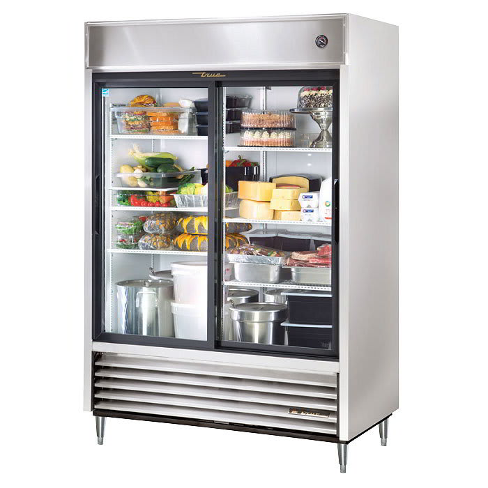 "True TSD-47G-HC-LD 54"" Two Section Reach-In Refrigerator, (2) Glass Door, 115v"