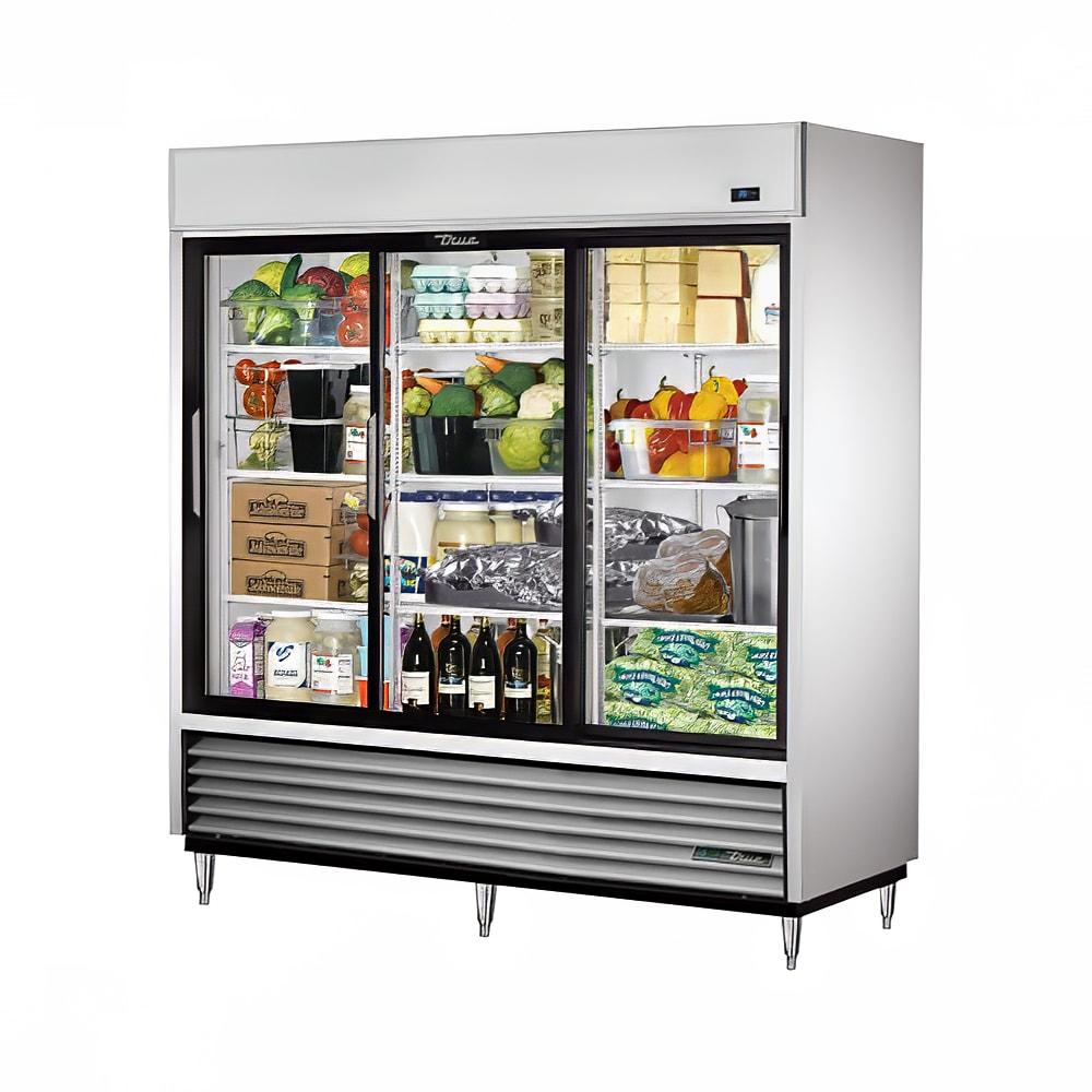 """True TSD-69G-LD 78.13"""" Three Section Reach-In Refrigerator, (3) Glass Door, 115v"""